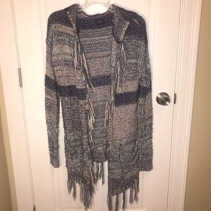 Long blue white chunky knit cardigan-fringe + hood